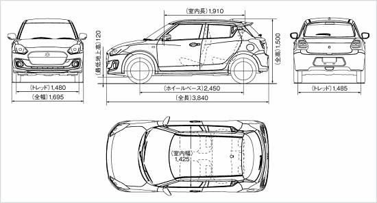 มิติรถ Suzuki Swift 2017