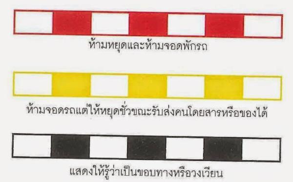 ต้องรู้!! แถบสีขอบฟุตบาท เส้นขาวแดง สีไหนจอดได้ สีไหนห้ามจอด