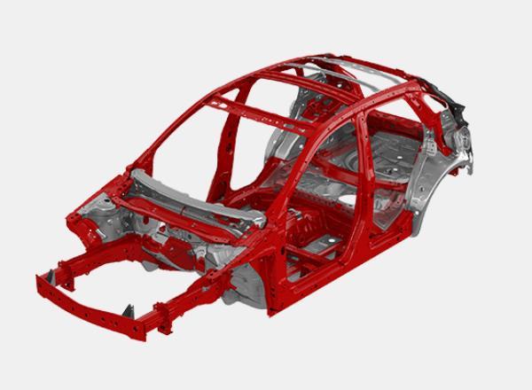โครงสร้างตัวถังสกายแอคทีฟ ผลิตจากเหล็กกล้าคุณภาพสูง High Tensile Steel น้ำหนักเบา และแข็งแกร่ง