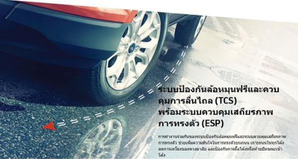 ระบบป้องกันล้อหมุนฟรีและควบคุมการลื่นไถล (TCS) พร้อมระบบควบคุมเสถียรภาพการทรงตัว (ESP)