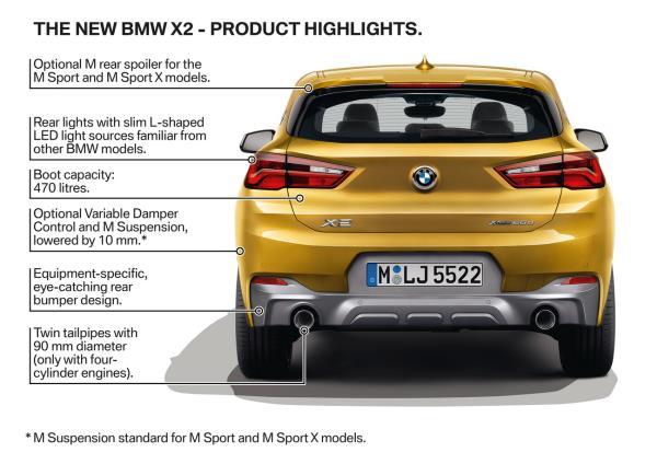 การออกแบบด้านท้ายของ BMW X2 2018 ใหม่