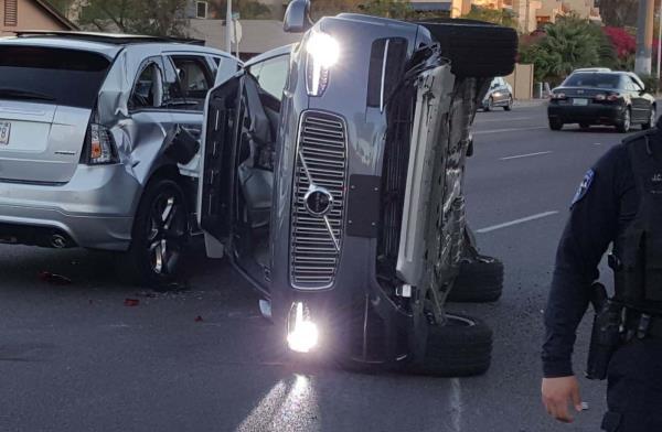 Uber Volvo XC90 Robotaxi crashed
