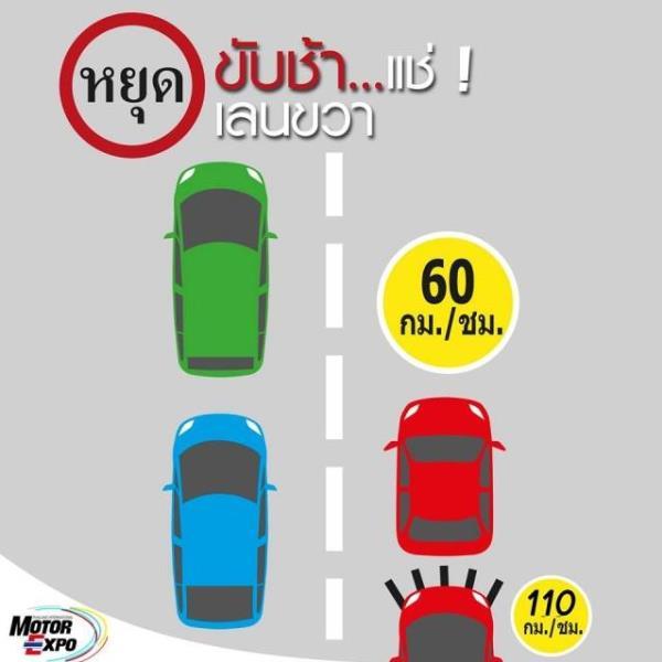 ในประเทศไทย มารยาทการขับรถ สำหรับ รยนต์ขับช้าต้องชิดช่องทางซ้ายนะครับ