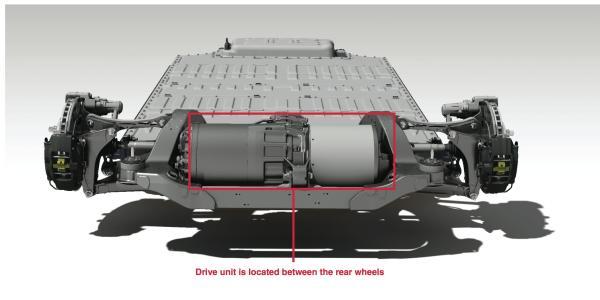 โครงสร้างแสดงภาพมอเตอร์ในรถยนต์เทสลาที่ส่งกำลังไปที่ล้อรถ