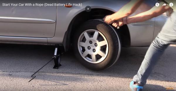 """Clip Video ในต่างประเทศเปิดเผย สุดยอด วิธีสตาร์ทรถยนต์เมื่อเครื่องดับด้วยการใช้ """"เชือกเส้นเดียว"""""""