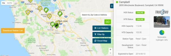 ชาวอเมริกันสามารถหาสถานีไฮโดรเจนได้จากเว็บไซต์พร้อมข้อมูลของสถานี