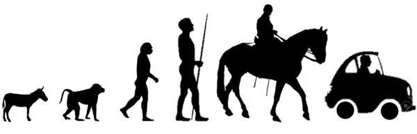 มนุษย์วิวัฒนาการมาจากลิงและเดินสองเท้าจนวันนี้เดินทางด้วยรถยนต์เป็นหลัก