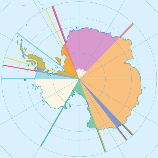 ทวีปแอนตาร์กติกามีส่วนที่ยังไม่มีคนครอบครองคือส่วนสีขาว