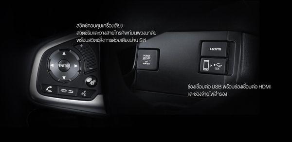 ปุ่มควบคุมที่พวงมาลัยและช่องเชื่อมต่อทั้ง 12V, HDMI, USB ในHonda Civic 2018