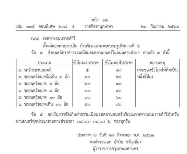 กรุงเทพมหานครประกาศเรื่องกำหนดที่จอดยานยนต์ 66 สาย