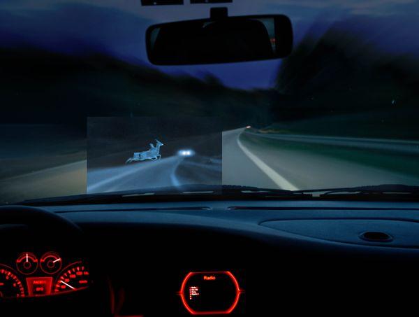 การแสดงผลของ Night Vision System แบบ Head-up Display
