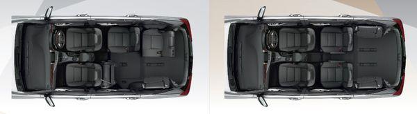 ภายในของ Toyota Innova Crysta สามารถปรับเปลี่ยนได้หลายรูปแบบและเข้าถึงเบาะแถว3ได้ง่าย