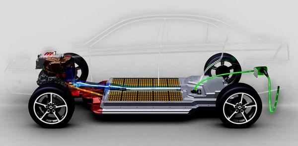 รถยนต์ไฟฟ้าที่วางแบตเตอรี่ไว้ที่พื้นของตัวถังรถ