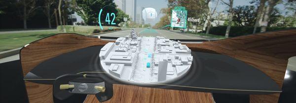 ภาพจำลองการนำภาพของเกมมาแสดงบนกระจกบังลมหน้าในรถยนต์ Nissan