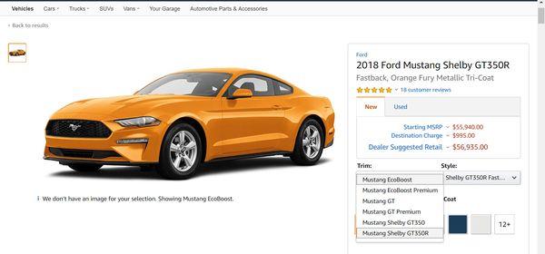 Amazon ให้รายละเอียดของรถยนต์ทั้งรุ่นทั้งราคาและสเปก เรียกว่าครบ