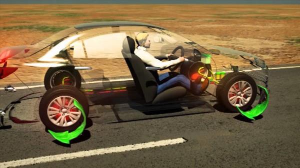 ภาพจำลองการทำงานแบบ 3 มิติ ของระบบล้อล็อค หรือ ABS ในรถยนต์
