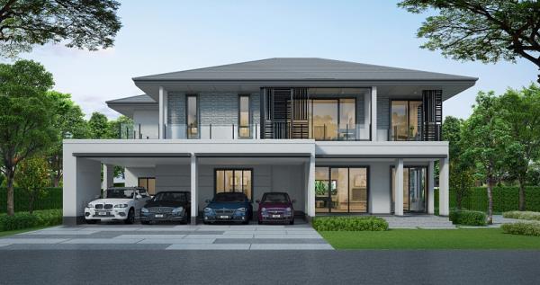 บ้านส่วนใหญ่นิยมสร้างที่จอดรถอยู่ติดกับตัวบ้าน เพราะต้องการประหยัดพื้นที่