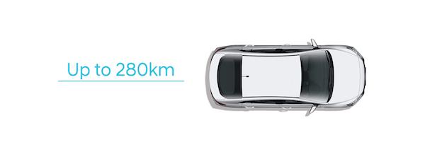 เมื่อพลังงานเต็มสามารถวิ่งได้ถึง 280 กิโลเมตร