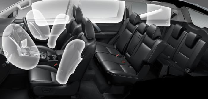 จุดแสดงถุงลมนิรภัยภายในตัวรถ ที่ในรุ่น 4WD GT-Premium จะถูกเพิ่มในบางตำแหน่งขึ้นมา