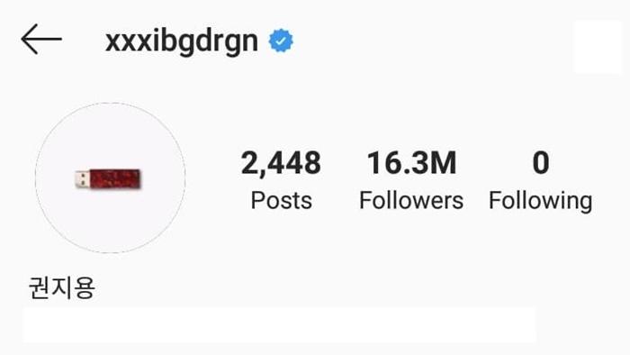 Instargram G-Dragon (อัปเดตเมื่อวันที่ 23 สิงหาคม 2019)