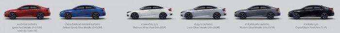 Honda Civic 2020 (Sedan) สีตัวถัง