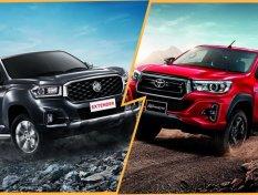 MG Extender VS. Toyota Hilux Revo Rocco กระบะน้องใหม่ปะทะเจ้าตลาด เทียบสเปคจริงไม่มีอวย